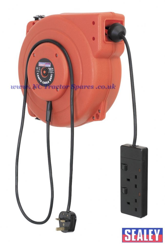 Cable Reel System Retractable 15mtr 2 x 230V Socket
